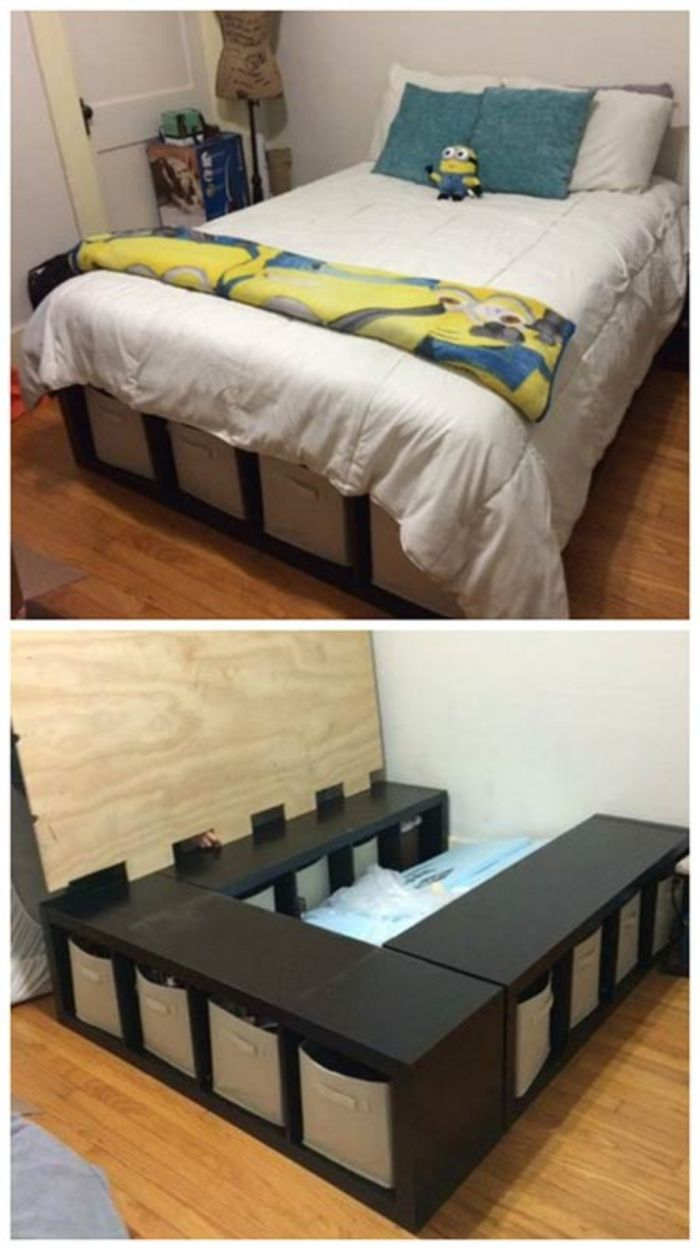 50+ Smart Bedroom Storage Ideas | Home, Home decor, Diy bed