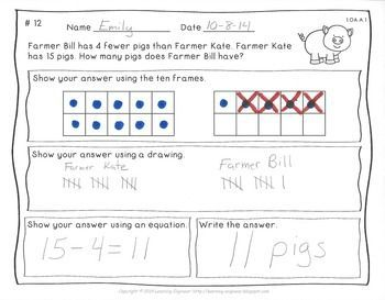 These twelve worksheets are aligned with the first grade CCSS 1.OA.A.1 ...