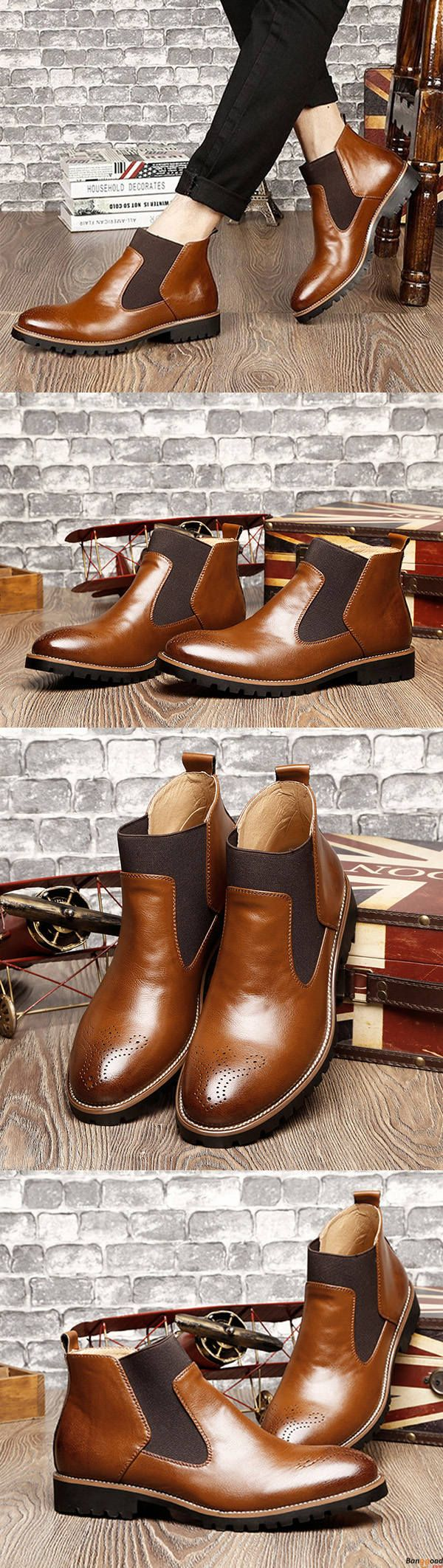 US$54.9+ Free Shipping.  3 colors available.  Men Comfortable Genuine Leather Elastic Band Ankle Boots . Men formal shoes, short boots, casual comfortable shoes, oxford shoes, boots, Fashion and chic, casual shoes, men's flats, oxford boots,leather short boots, men's style, chic style, fashion style.  Shop at banggood with super affordable price. #men'sshoes#men'sstyle#chic#style#fashion#style#wintershoes#casual#shoes#casualshoes#boots#oxfordshoes#loafers#flats#shortboots