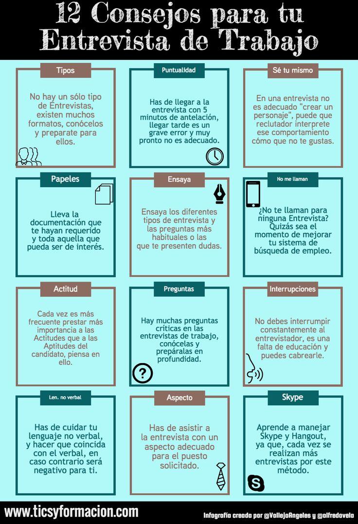 12 Consejos para tu Entrevista de Trabajo #infografia