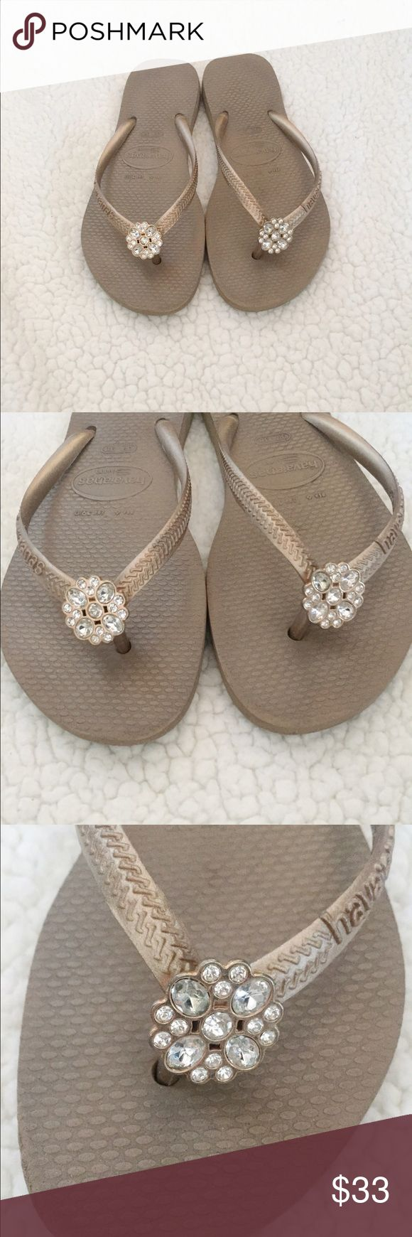 Havaina Brand Jeweled Flip Flops Tan coloring, with beautiful studded accents on the toe! Size 7! Great condition, will be cleaned before being sent out! Perfect for the spring and summer coming up! Very good quality flip flop! Havaianas Shoes Sandals