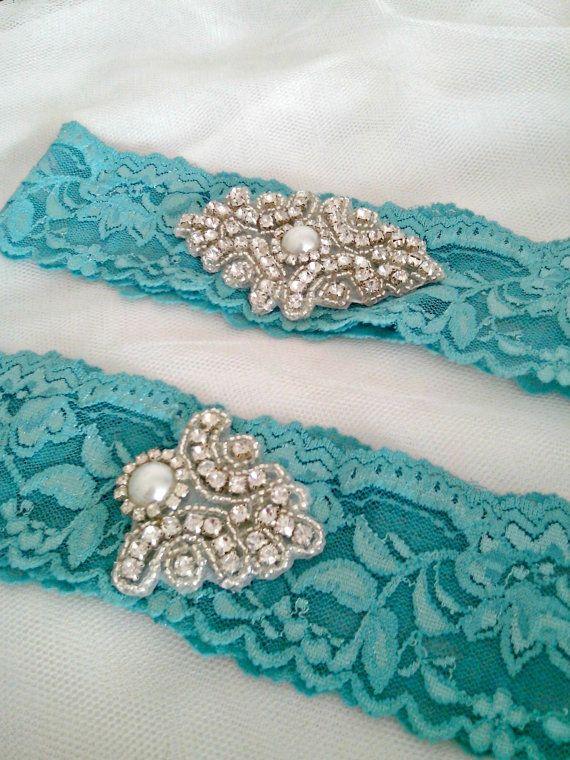 Tiffany Blue Wedding garter Set Custom by MadamePearlJewelry, $37.50