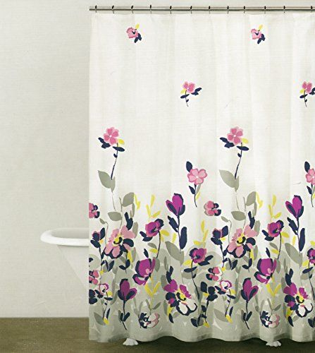 DKNY Botanical Nature 100% Cotton Shower Curtain Floral Branches Design  Pink Navy Blue Grey Yellow