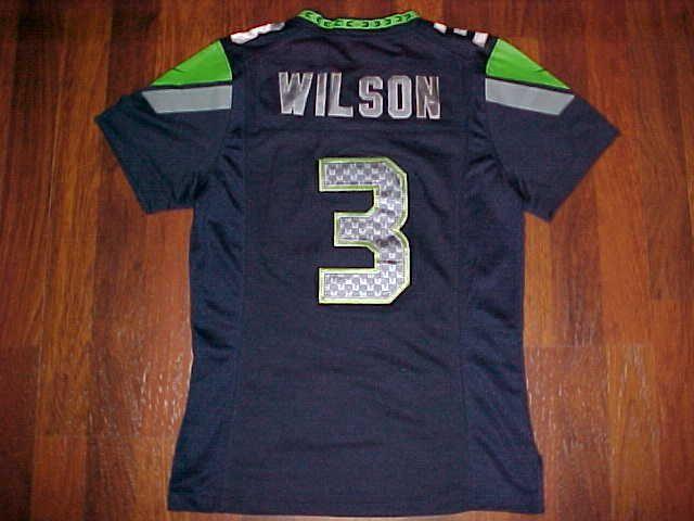 Nike NFL NFC West Seattle Seahawks Russell Wilson 3 Women Navy Blue Jersey 12 M…
