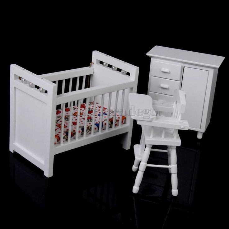 1/12 Dollhouse Miniature Nursery Room Furniture Wooden Baby Bedroom Set in Dolls & Bears, Dollhouse Miniatures, Furniture & Room Items | eBay
