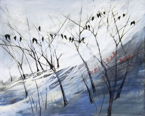 "Marjan Fahimi, ""The winter birds"" on ArtStack #marjan-fahimi #art"