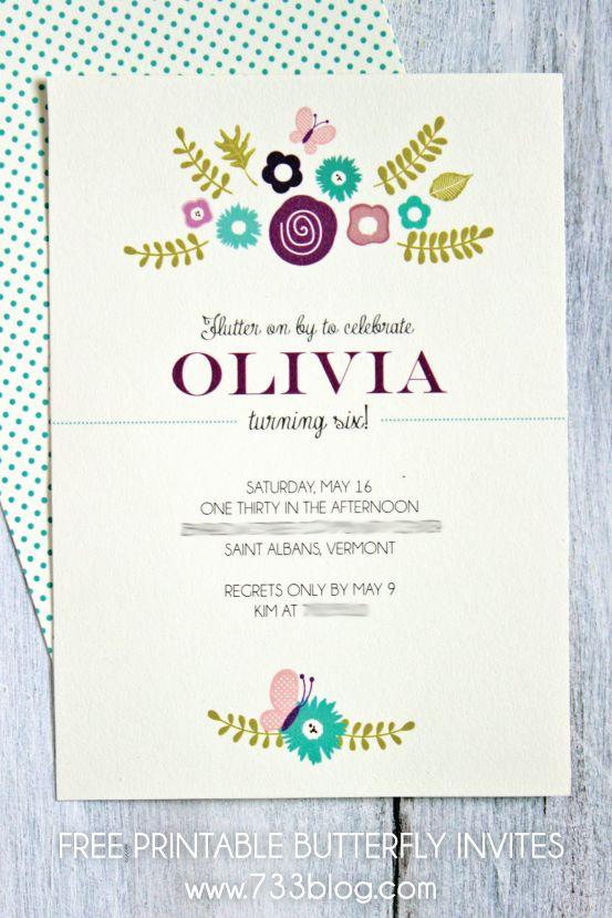 Printable Butterfly Birthday Invitation Birthdays