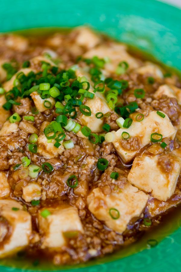 Mapo Tofu (Japanese Style): ground pork & tofu in a sauce (sake, oyster sauce, sesame oil etc.)