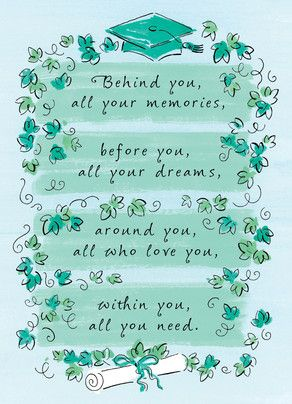 Teal Ivy Poem College Graduation Card | Cardstore