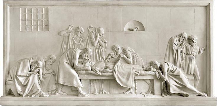 Morte di Socrate, 1787-1792, bassorilievo in gesso, mai tradotto in marmo, Gipsoteca Canoviana, Possagno
