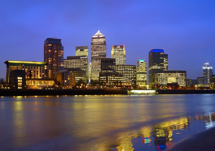 'Canary Wharf, London at Dusk' wall mural by Tony Howell available at wallpapered.com