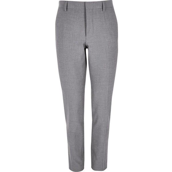 River Island Grey super skinny suit trousers ($44) ❤ liked on Polyvore featuring men's fashion, men's clothing, men's pants, men's dress pants, grey, suits, mens gray pants, mens skinny dress pants, mens skinny fit dress pants and mens skinny suit pants