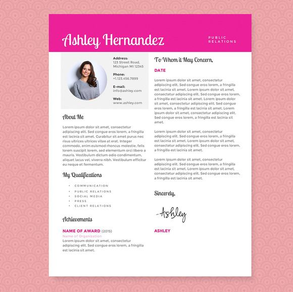 Bright Pink Resume Template Package by JannaLynnCreative on Creative Market