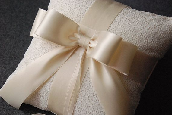 Ring Bearer Pillow Ivory Ring Bearer Pillow with by YANDEBRIDAL, $45.00