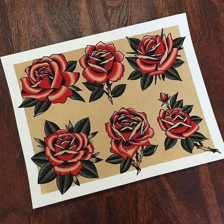 """""""Flash by: --- @matt_miller_tattoo, traditional tattoo flash, rose tattoo"""