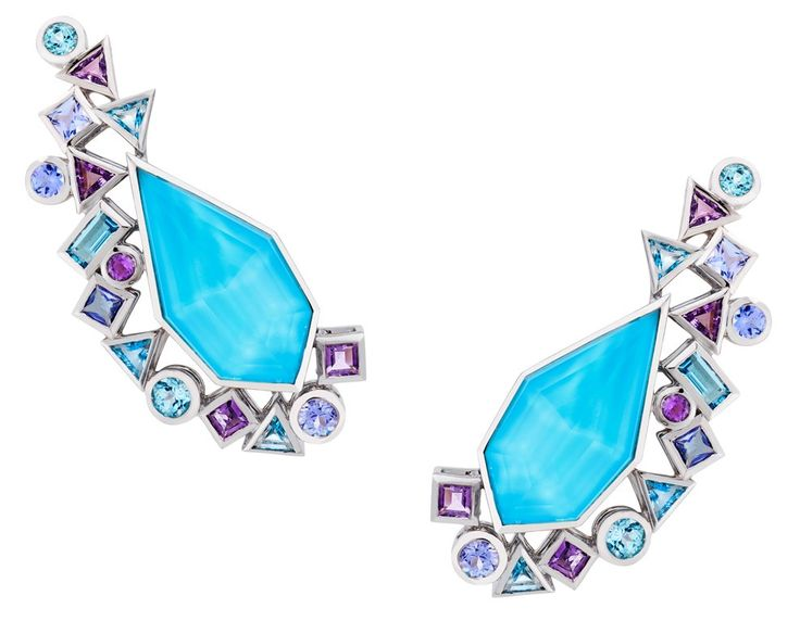 Gold Struck Crystal Haze white gold earrings by Stephen Webster with turquoise, amethyst, tanzanite and blue topaz