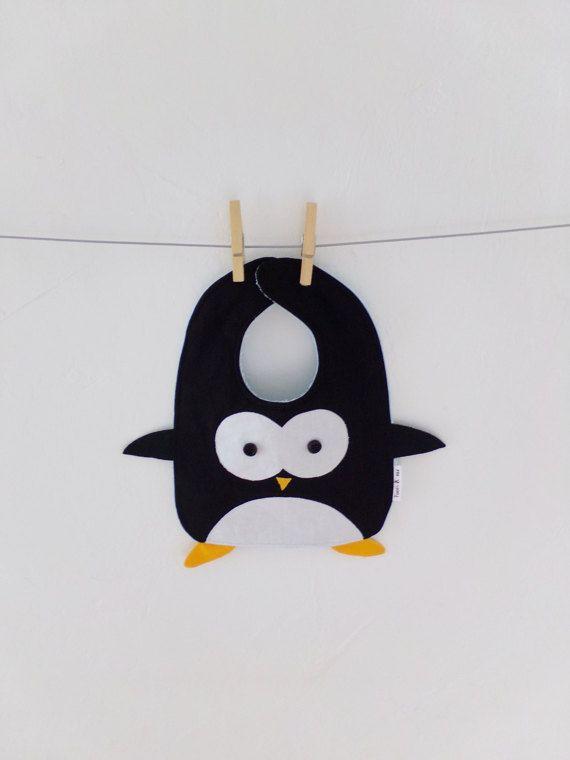 Penguin Baby bib Handmade 100% cotton Girl Boy by TootsAndMe