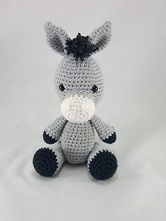 Amigurumi Crochet Donkey Stuffed Animal pattern by Happy Hook Designs. #crochet #yarn #amigurumi #stuffedanimal