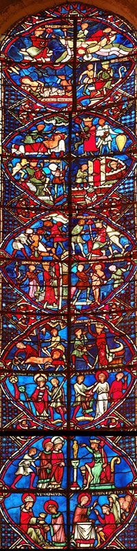 Bourges Cathedral Vincent Of Saragossa Window Click On The Appropriate Box In General WindowsChurch WindowsMedieval Stained GlassMedieval