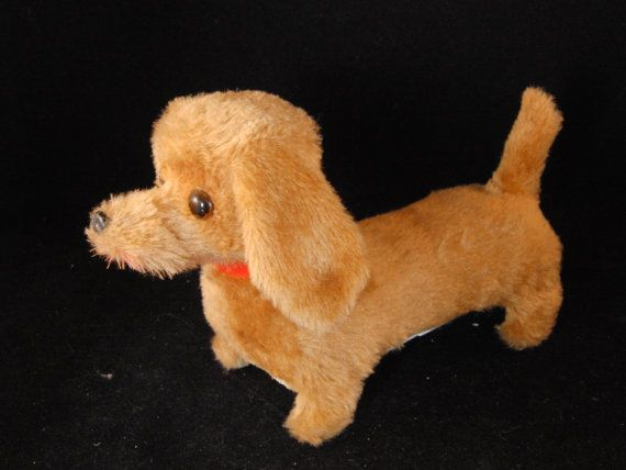 Vintage walking/barking dog toy Dachshund by SweetResale on Etsy