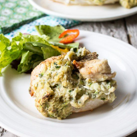 Zucchini and Ricotta stuffed chicken breasts.
