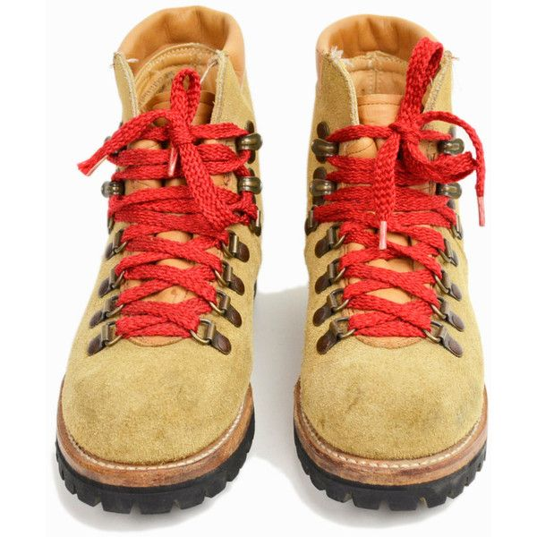 Vintage Leather Hiking Boots with Red Lace Waffle Stompers Women's 6/7 (€88) ❤…