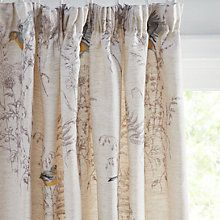 Buy John Lewis Siskin Embroidery Lined Pencil Pleat Curtains, Natural Online at johnlewis.com