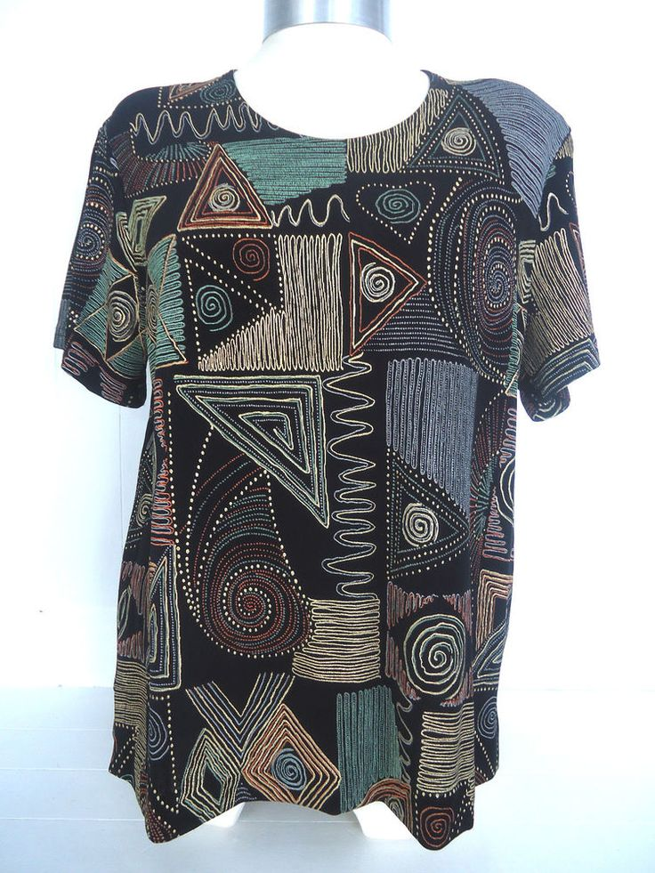 WOMENS STEPHEN Y SHORT SLEEVE TOP BLACK AZTEC MULTI COLOUR MADE IN ENGLAND