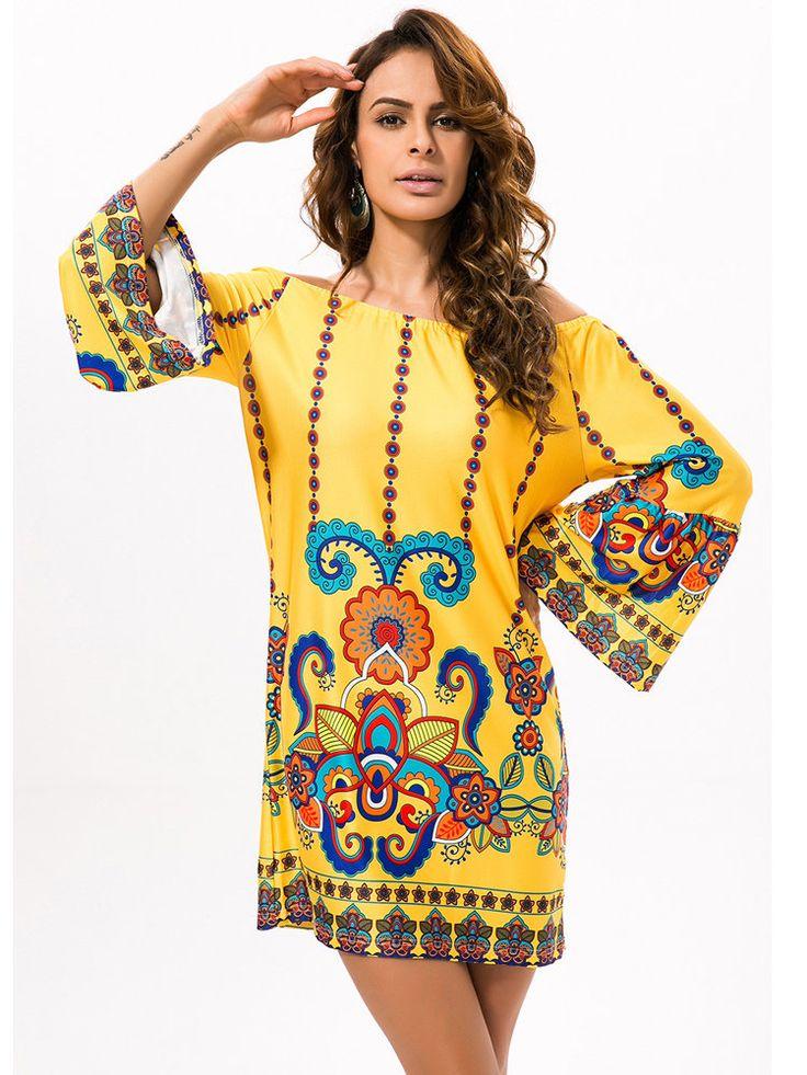 Gracila Folk Style Silk Off-shoulder Print Long Sleeve Women Mini Dress