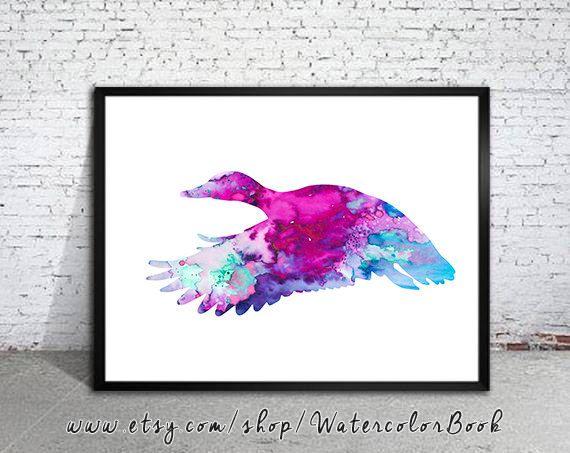 Duck 2 Watercolor Print, Archival Fine Art Print, Children's Wall Art,Home Decor, animal watercolor, watercolor painting, bird art, Duck art...