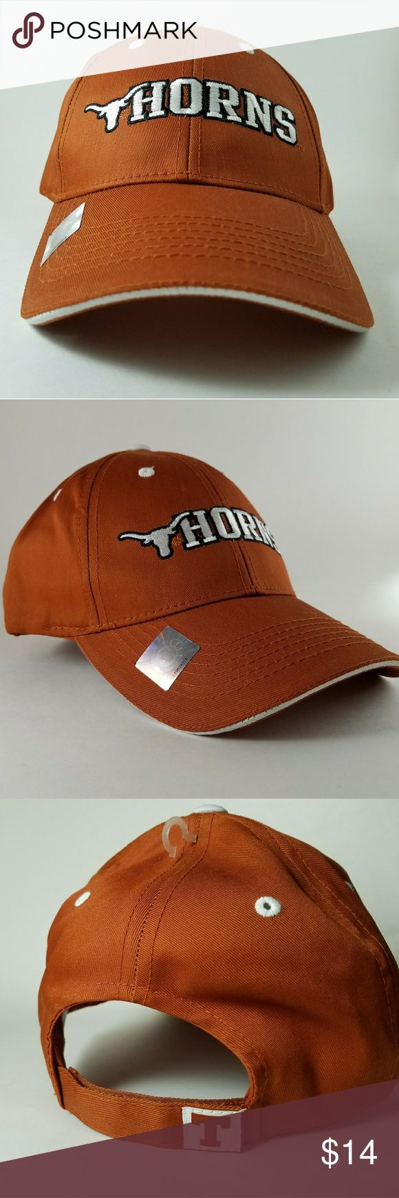 NEW! Longhorns Baseball Hat. One Size NEW Longhorns Baseball Hat One Size No tags but NEW  Velcro Great for UT GAMES or for everyday wear! 65% Polyester and 35% Cotton   This hat is meant to be worn in UT games and on sunny days. Keep this hat's legacy this summer by wearing it outside and showing UT spirit. I hope you love this hat as much as I loved buying it! Lol.   If you have any questions please feel free to drop me a comment below!  Prices are negotiable- just ask!  Thank you for…