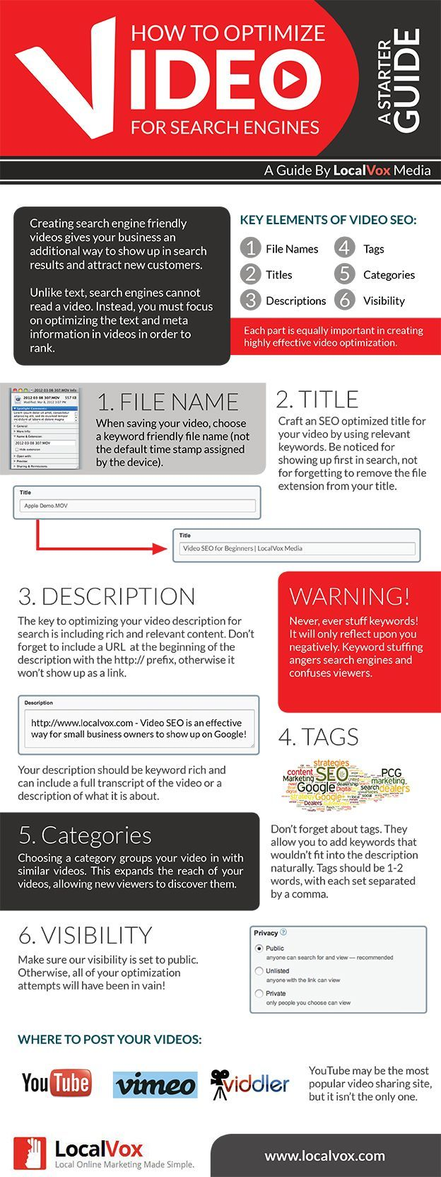 Infographic: How to Optimize Videos for SEO  Ranking videos is just one more way to improve your search engine optimization. Ranking is not for just websites anymore.   Need help with your strategy to get more traffic and conversions? Call #SEO Buzz Internet #Marketing, http://www.seobuzzinternetmarketing.com/contact-internet-marketing-company