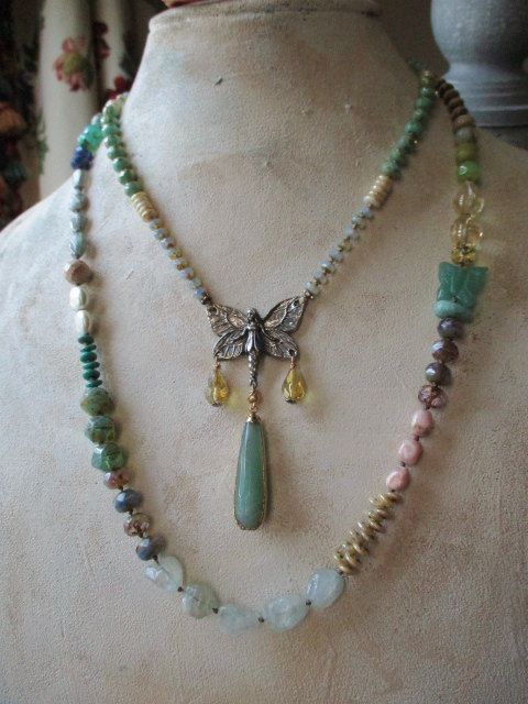 Knotted spring necklace In Flight artisan by slashKnots on Etsy