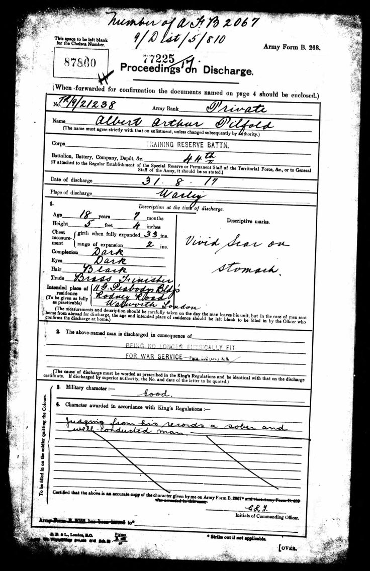 Albert Arthur Pilfold discovered in British Army WWI Pension Records 1914-1920