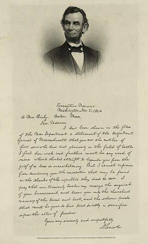Abraham Lincoln's artful letter expressing his condolences to Mrs. Lydia Bixby for the loss of her five sons is one of the president's most ...
