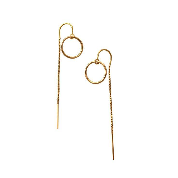 Gold Open Circle chain earrings