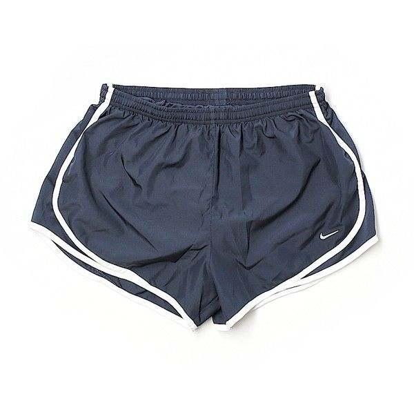 Pre-owned Nike Athletic Shorts Size 12: Navy Blue Women's Activewear ($16) ❤ liked on Polyvore featuring activewear, activewear shorts, navy blue, nike activewear, nike sportswear and nike