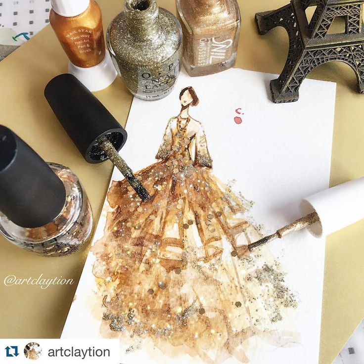 """""""#Repost @artclaytion with @repostapp. Shades of Gold. #fw16marchesa collection. Nail polish on paper, April 2016. #marchesafanfriday #marchesa…"""""""