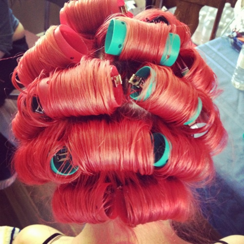 Red Curlers In Curlers Pinterest Roller Set Hot