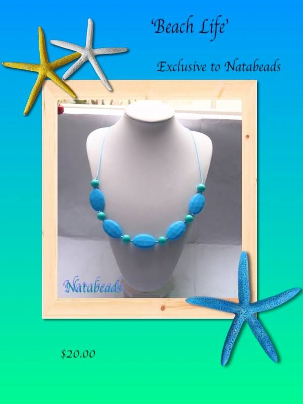 Beach Life Silicone Teething Necklace Available at www.facebook.com/Natabeads