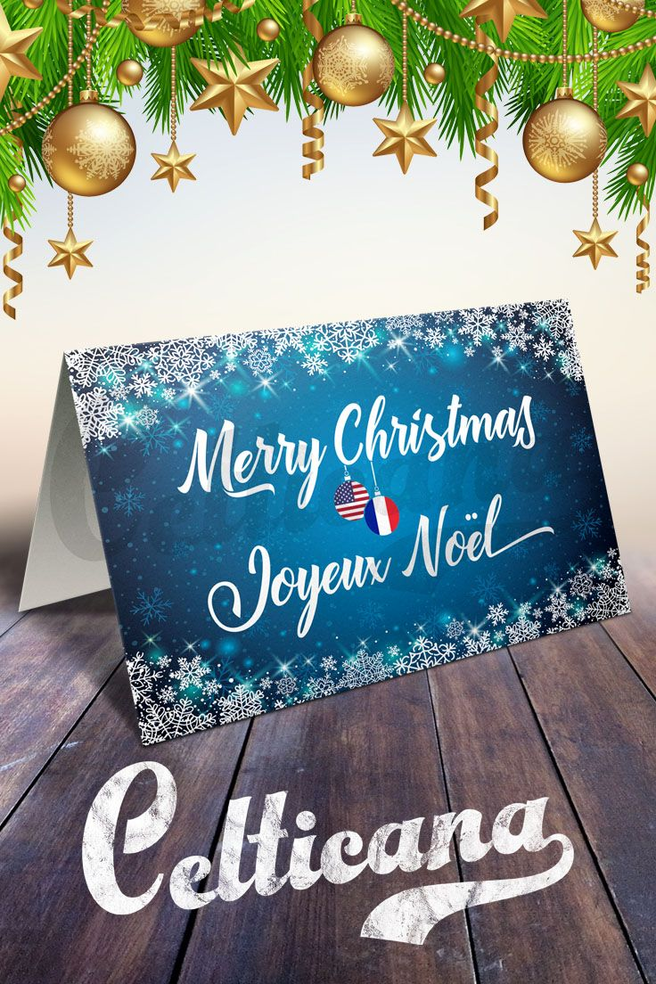 French American Bilingual Holiday and Christmas cards, with text in English and French, wishing a 'Merry Christmas' and 'Joyeux Noel'. Perfect if you have French ancestry, or are from France and living in the USA, or have family and friends in both countries! Design features holiday baubles with both countries flags. You can edit the text inside. The card is supplied with a white envelope.