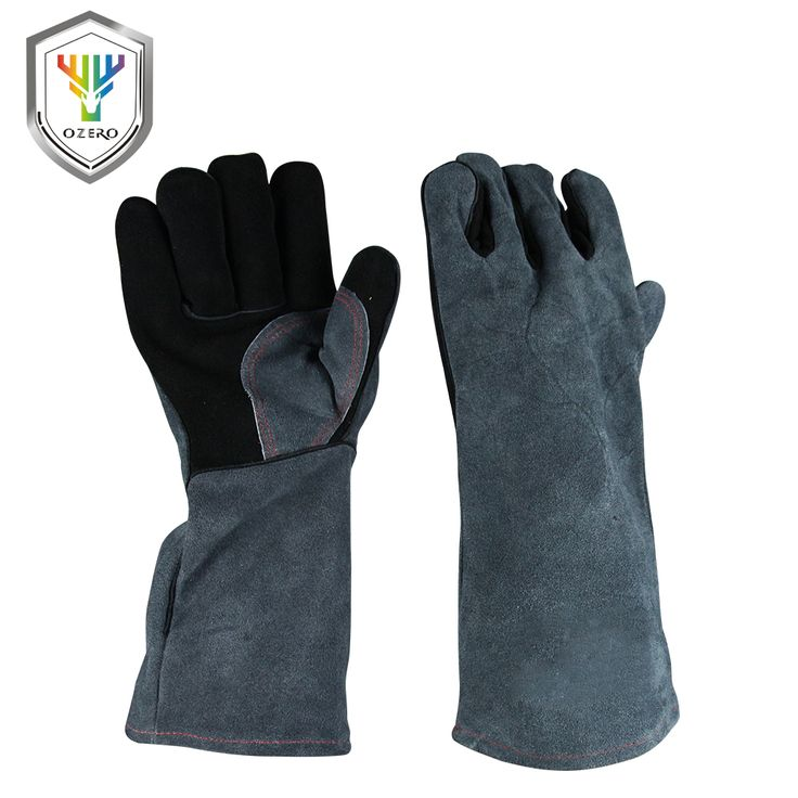 OZERO High Quality Work Cowhide Leather Barbecue Grill hearth Leather Working Garden Gloves Safety Welding For Oven Mitts   1102