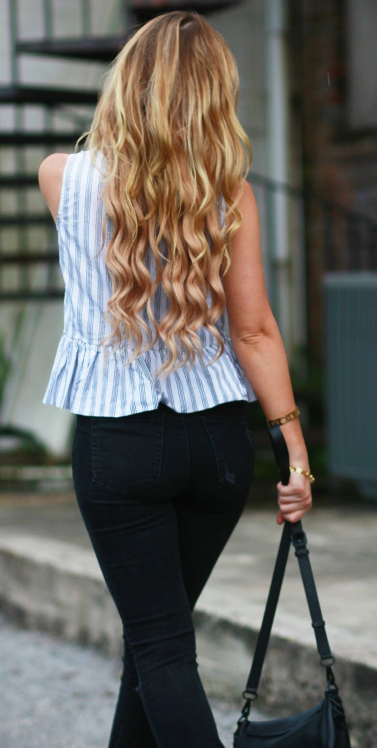 Striped peplum top paired with black distressed flared jeans, Valley Eyewear oversized sunglasses and choker for an edgy fall transition outfit