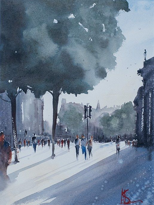Alan Somers-Trinity College, College Green #dublin #art #painting #watercolour #citystreets #fineart