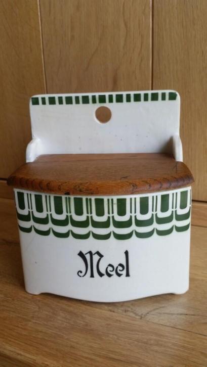 Meelpot met groen decor van Societe Ceramique