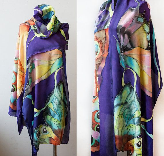 This colorful shawl is made out of 100% flat crepe silk, with hand rolled hems. Flat crepe silk is an elegant lightweight fiber with beautiful sheen like habotai and a crepe-like texture. It is hand painted with silk dye.  ******************************************************************** The colors are set by steaming process. They are permanent and sun tolerant. They dont fade, even after repeated washing. Silk dye leaves no texture on silk…