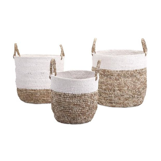 Lace-up Woven Baskets - Set of 3