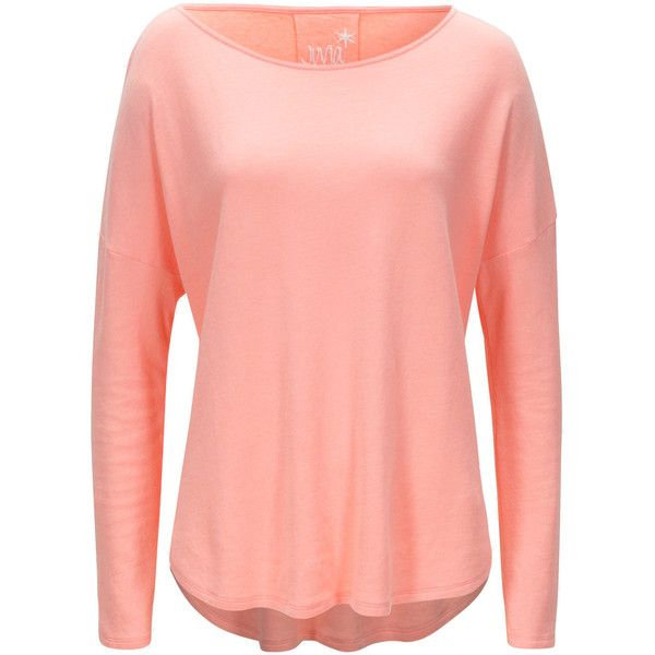 Juvia Sweater Cashmere Mix Neon Peach (235 CAD) ❤ liked on Polyvore featuring tops, sweaters, peach top, red sweater, neon top, red cashmere sweater and pure cashmere sweaters