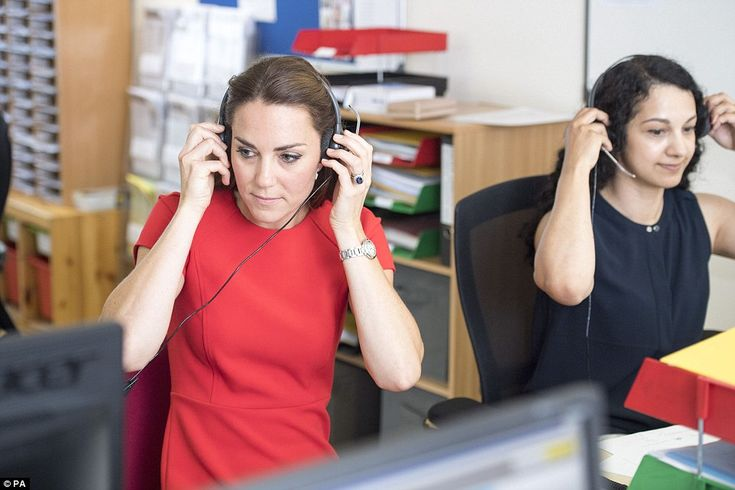 After listening to live calls, the duchess told one of the volunteers that 'she could tell from the caller's voice, the emotion at the beginning, and then the acceptance - 'OK, this is what I need to do' - to relief towards the end. 'OK, I've been listened to, I know what my next steps are'