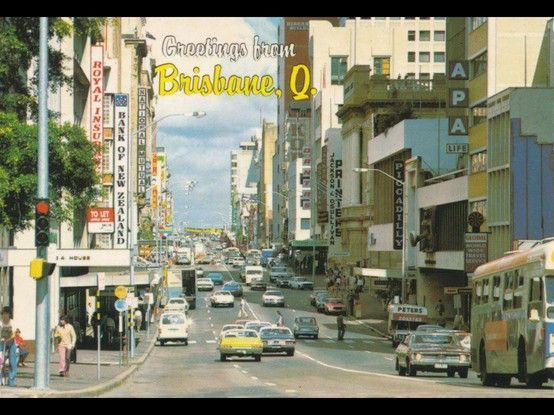 view of Queen st brisbane 1970's.